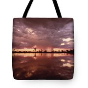 Sunset And Clouds Over Waterhole Tote Bag