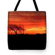 Sunset And Deer Silhouette Tote Bag