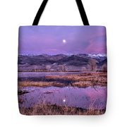 Sunset And Moonrise At Farmers Pond Tote Bag by Cat Connor