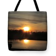 Sunset And Pond Reflection Tote Bag