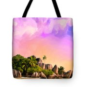 Sunset At Anse Source Argent Seychelles Tote Bag