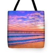 Sunset At Cayucos Pier Tote Bag