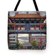 Sunset At Chinatown Gate In Seattle Washington Tote Bag