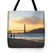 Sunset At Crissy Field With Golden Gate Bridge San Francisco Ca 5 Tote Bag