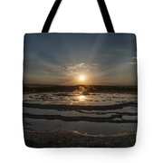 Sunset At Great Fountain Geyser - Yellowstone Tote Bag