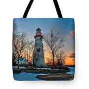 Sunset At Marblehead Lighthouse Tote Bag