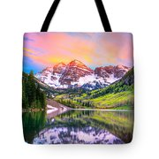 Sunset At Maroon Bells And Maroon Lake Aspen Co Tote Bag by James O Thompson