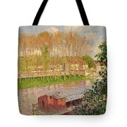 Sunset At Moret Sur Loing Tote Bag by Camille Pissarro