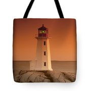 Sunset At Peggy's Cove Lighthouse Tote Bag