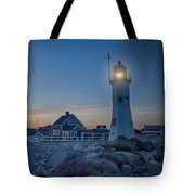 Sunset At Scituate Light Tote Bag