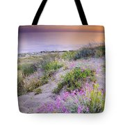 Sunset At The Beach  Flowers On The Sand Tote Bag