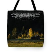 Sunset At The Cabin With Scripture Tote Bag