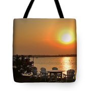 Sunset At The Docks Tote Bag