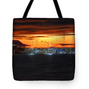 Sunset At The Fairhope Pier Tote Bag