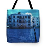 Sunset At The Hotel Canal Grande Venice Italy Near Infrared Blue Tote Bag