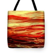 Sunset At The Red River Abstract Tote Bag