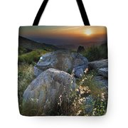 Sunset At The Windy Mountains Tote Bag