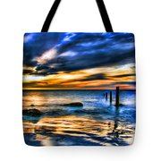 Sunset At Washed Out Pier Tote Bag