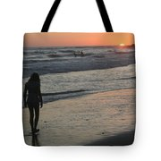 Sunset Beach Silhouette Tote Bag