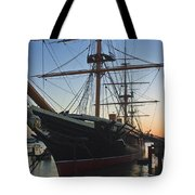 Sunset Behind Hms Warrior Tote Bag