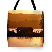 Sunset Boat House Tote Bag