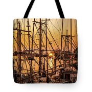 Sunset Boat Masts At Dock Morro Bay Marina Fine Art Photography Print Sale Tote Bag