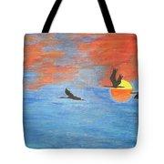 Sunset Cranes Tote Bag