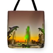 Sunset Dolphins Tote Bag
