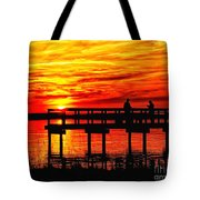 Sunset Fishing At The Pier Tote Bag