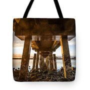 Sunset From Under The Pier Tote Bag