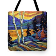 Sunset Geo Landscape Original Oil Painting By Prankearts Tote Bag