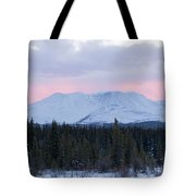 Sunset Glow Behind Winterly Little Peak Yt Canada Tote Bag