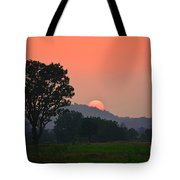 Sunset In Countryside Tote Bag