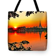 Sunset Leaves Tote Bag