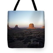 Sunset Light With Mittens And Desert In Monument Valley Arizona  Tote Bag