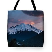 Sunset Mount Rainier Tote Bag