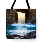 Sunset On Arch Rock In Pfeiffer Beach Big Sur. Tote Bag