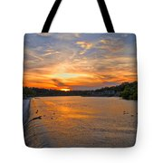 Sunset On Boathouserow Tote Bag