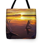 Sunset On Caribou Antlers In Whitefish Lake Tote Bag