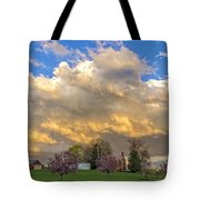 Sunset On Mixed Clouds Tote Bag