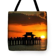 Sunset On Naples Pier Tote Bag