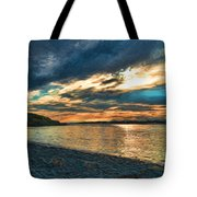Sunset On Rocky Beach Tote Bag