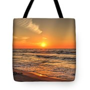 Sunset On The Baltic Sea Beach Of Leba In Poland Tote Bag