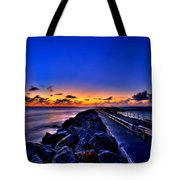 Sunrise On The Pier Tote Bag