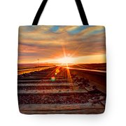 Sunset On The Rails Tote Bag