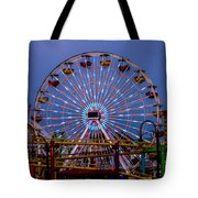 Sunset On The Santa Monica Ferris Wheel Tote Bag