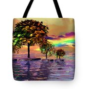 Sunset On Trees And Ocean Tote Bag