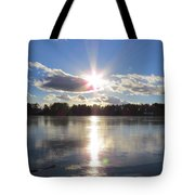 Sunset Ove A Frozen Pond Tote Bag