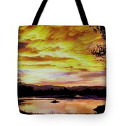 Sunset Over A Country Pond Tote Bag
