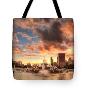 Sunset Over Buckingham Fountain Tote Bag